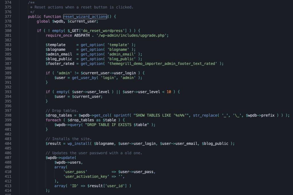 ThemeGrill Demo Import - kod odpowiedzialny za podtaność